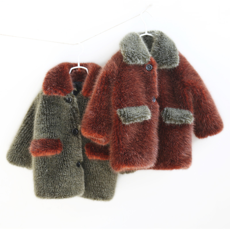 2018 Winter Children Warm Long Faux Fur Thicken Jackets Unisex Faux Fur Coats and Outerwear for Girls and Boys Clothing for Kids
