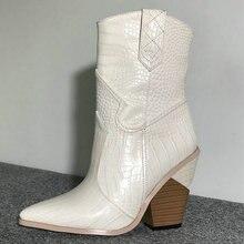 6b5ae85c Blanco Beige negro amarillo cuero de imitación botas de vaquero tobillo  para mujer cuña botas de