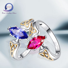 Merthus Blue Red Cubic Zirconia Silver Rings Promise Engagement Ring for Women S925 Sterling Silver Ring