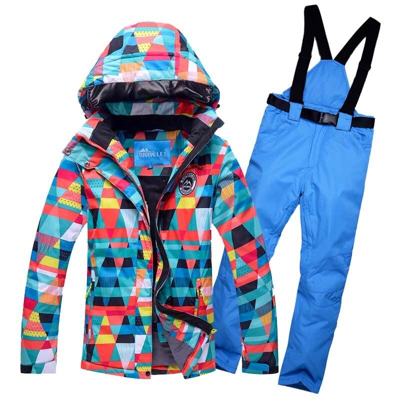 Gratuit Livrer 2018 Nouveau Costume De Ski Ensemble femmes de Snowboard Veste Et Pantalon de Costume De Ski Femmes Coupe-Vent Imperméable Femmes hiver Vestes