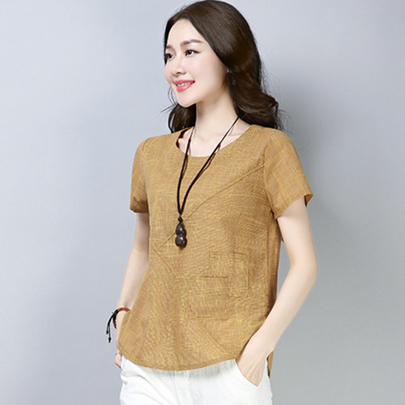 cdd0373ce815 Blusas de verano para mujer 2018 nuevas blusas de algodón de lino Vintage  para damas Casual suelta camisa de manga corta para mujer talla grande ropa  de ...