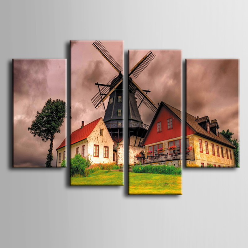 Wholesale 4 Pcs/Set Artist Canvas Country House Landscape series Canvas Prints Wall Pictures for Living Room Picture/ZT-3-42 image