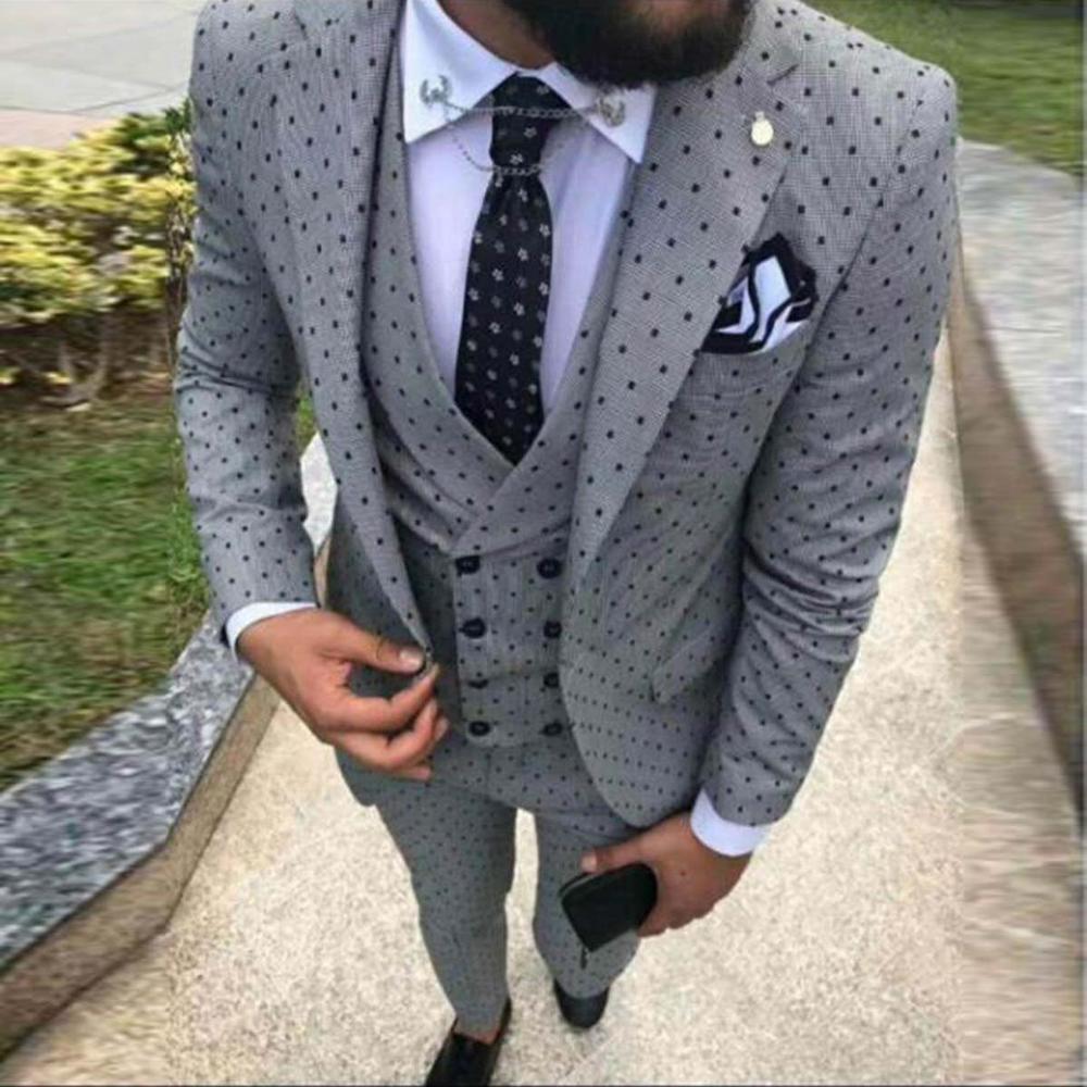 2019 Men's Spotted Suit 3 Pieces Casual Notch Lapel Slim Fit Double Breasted Vest Tuxedos Groomsmen For Party(Blazer+vest+Pants)