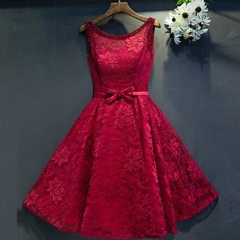 2019 New Lace A Line Tea burgundy bridesmaid dresses Real Photos plus size cheap bridesmaid dresses under 50