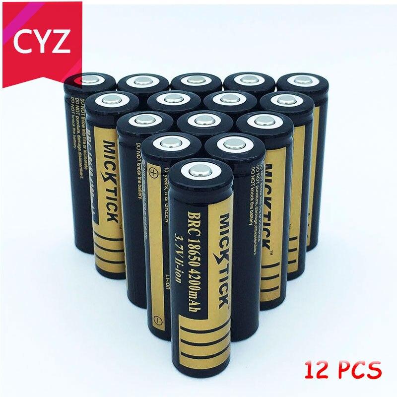 12PCS 3.7V 4200mAh 18650 MICKTICK Battery Lithium Li Ion Rechargeable Large Capacity Batteries Batteria T6 Flashlight LED