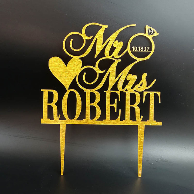 Personalized Wedding Cake Topper MR MRS Diamond Ring Shape Wedding ...