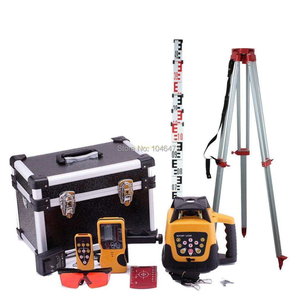 (Ship from EU) Automatic 500m Range Self-leveling Rotary Rotating Laser Level Red + Tripod + Staff brand new 1 65m aluminum tripod 5m 5 section dumpy laser level staff for rotary laser level