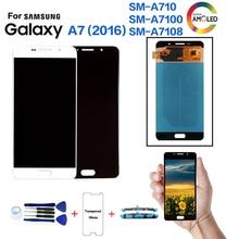 AMOLED для samsung Galaxy A7() SM-A710F Замена ЖК-дисплея для samsung A710FD A7100 A7108