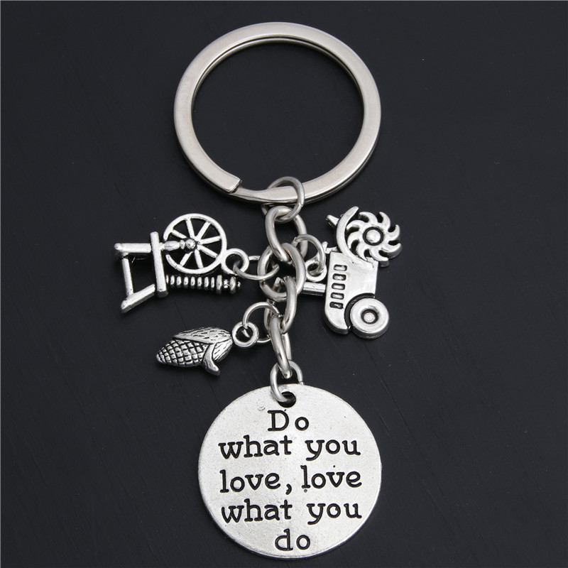 1pc Farmer Keychain Gift Farm Girl Equipment Tractor Keyring Corn On The Cob Do What You Love Jewelry E2048(China)