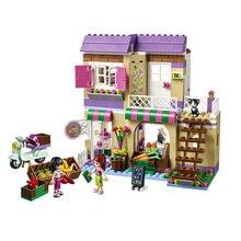 Diy لعبة 10495 Heartlake الغذاء السوق 41108 اللبنات نموذج لعب للأطفال متوافق مع Legoe الأصدقاء الطوب الشكل