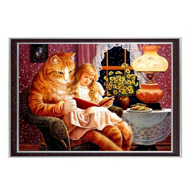 Girl and cat People Counted Needlework DMC Cross stitch Embroidery kits Set 14CT Canvas Patterns Cross