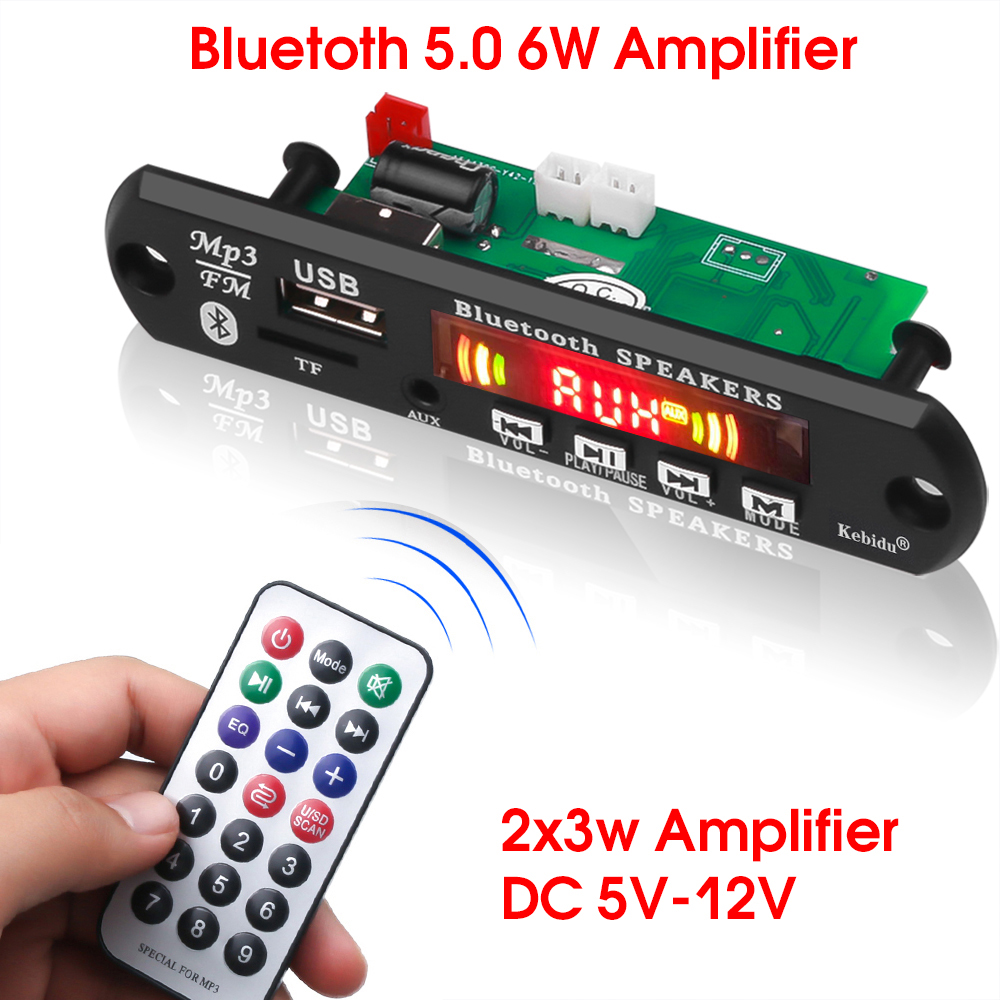 KEBIDU 5V 12V Bluetooth MP3 Decoder Board Hands-free Car FM Radio Module FM TF USB AUX Audio +Recoring Function 2 X 3W Amplifier