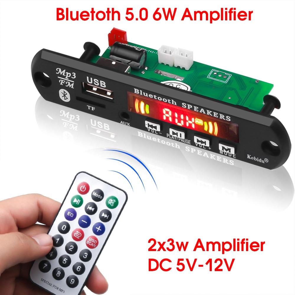 Kebidu mãos-livres mp3 player decodificador placa 5v 12v bluetooth 5.0 6w amplificador de carro fm