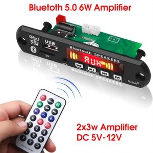 KEBIDU Hands-free MP3 Player Decoder Board 5V 12V Bluetooth 5.0 6W amplifier Car FM Radio Module Support FM TF USB AUX Recorders
