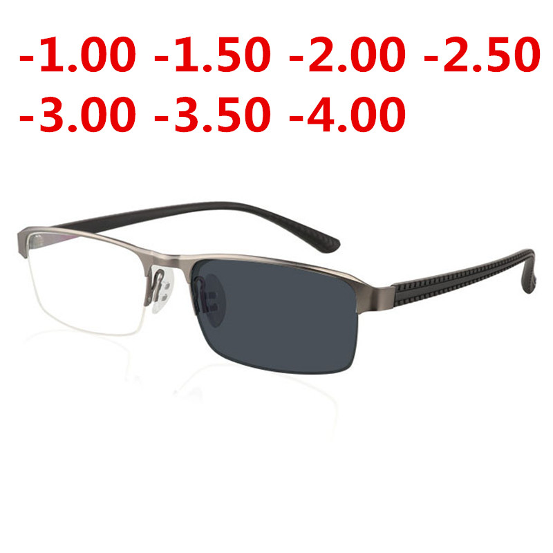 JIE. B Übergang Sonnenbrille Photochrome myopie Brillen Fertig myopie Gläser für Männer Computer Optische Gläser Rahmen