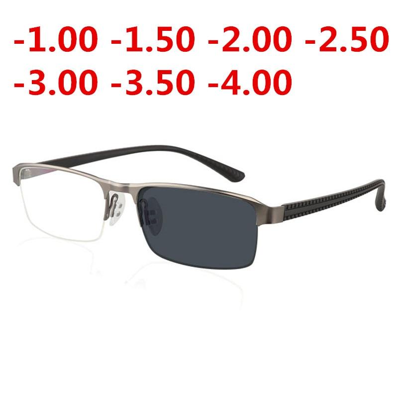 JIE.B Transition Sunglasses Photochromic myopia Eyeglasses Finished myopia Glasses for Men Computer Optical Glasses Frame