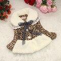 Принцесса Леопарда Дизайн Новорожденных Девочек Шерсть Искусственного Меха Воротник Зимнее Пальто с Лентой Лук