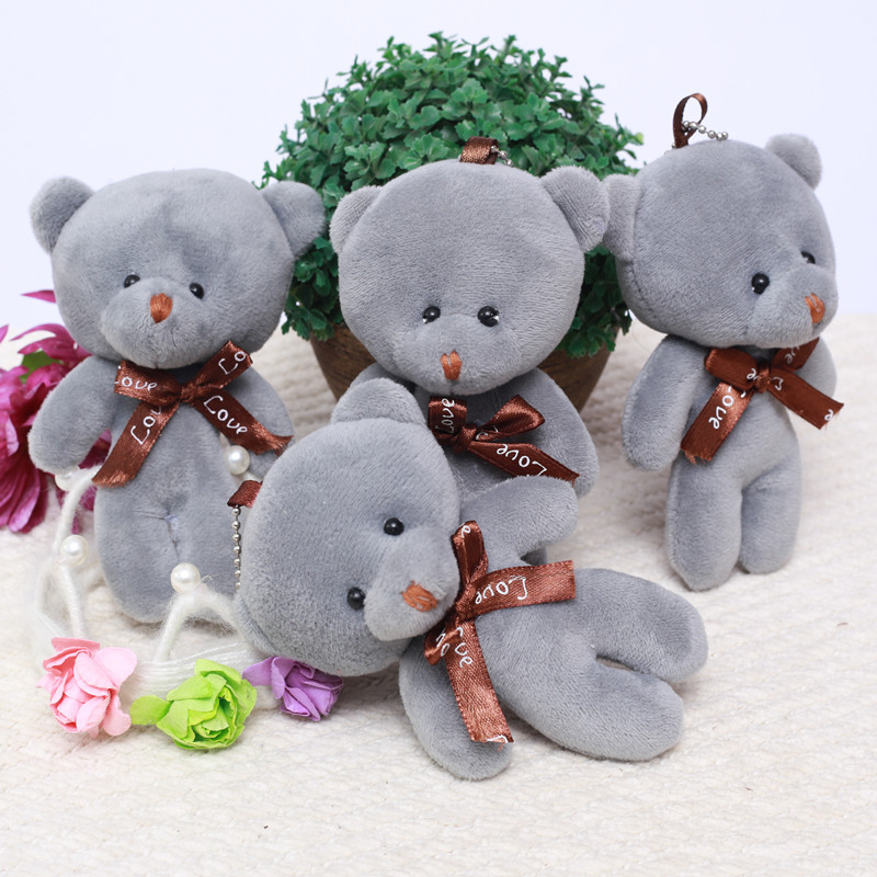 NEELUCKY 12cm New Cute Bear Ornaments Plush Toys Bags and Pendants Bag Decoration Key Ring Doll