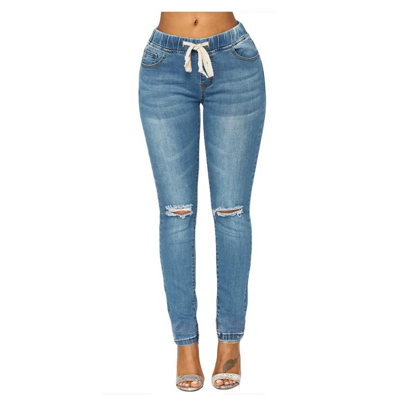 Pantalones Jeans Skinny Ripped Cintura Azul Elástico Denim Lavado Medio Cordón Casual xY7q14CFwn