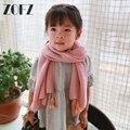 2016 Coréia Do Sul Doce quente de Outono Inverno Crianças Menina Masculino Cachecol Cor de Algodão Puro Bebê Menino Menina Quente Tassel Scarf