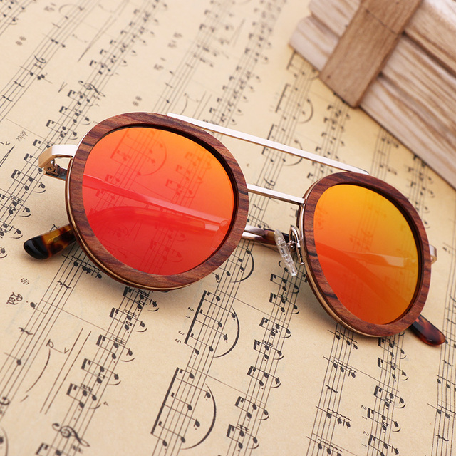 Fashion Women Polarized Sunglasses Wood Luxury Retro Outdoor Round Sun Glasses High Quality Metal Frame UV400 With Bamboo Case