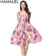 Hamaliel летние женские взлетно-посадочной полосы платье 2017 пикантные розовые с принтом ананаса Спагетти ремень пикантные повседневные Однобортный Кнопка вечернее платье