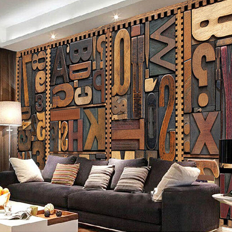 Large Custom Mural Wallpaper 3D Vintage English Letter KTV Living Room Backdrop Art Wallpaper Non-woven Printed Wallpaper Rolls