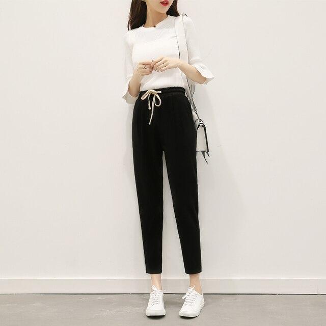 Elastic Waist Harem Pants Women Plus Size Cotton Linen 2018 Spring Summer  New Hot Fashion Casual