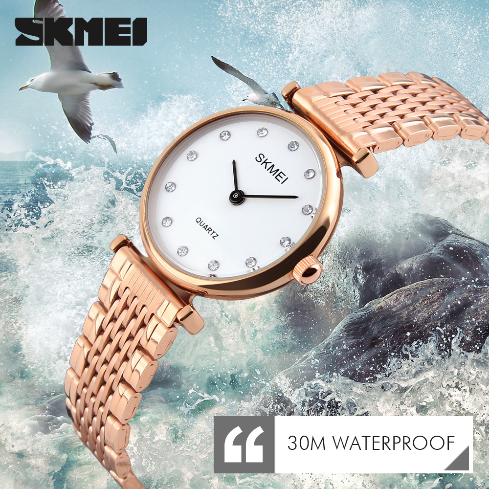 2017 SKMEI Dames Dames Horloges Montre Femme Mode Dames Horloges Vrouwelijke Klok Jurk Quartz-horloge Lady Fashion Polshorloge