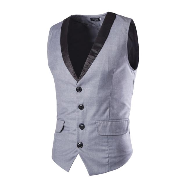 M-XL Botões Businesswear Cavalheiro dos homens chegada ocasional Colete V pescoço Colete de fitness Fino de Trabalho Formal Casacos MQ400