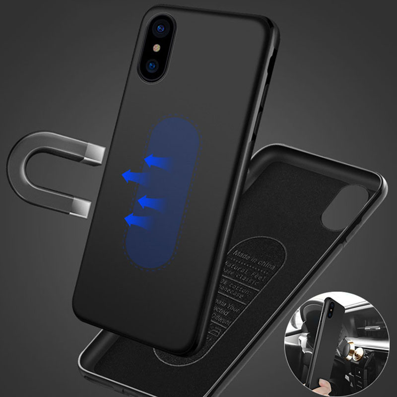 low priced eefcd 9c518 Magnetic Car Holder Iphone 8 6 6S Plus 7 7Plus X XS MAX XR Soft TPU Magnet  Cover With Metal Plate