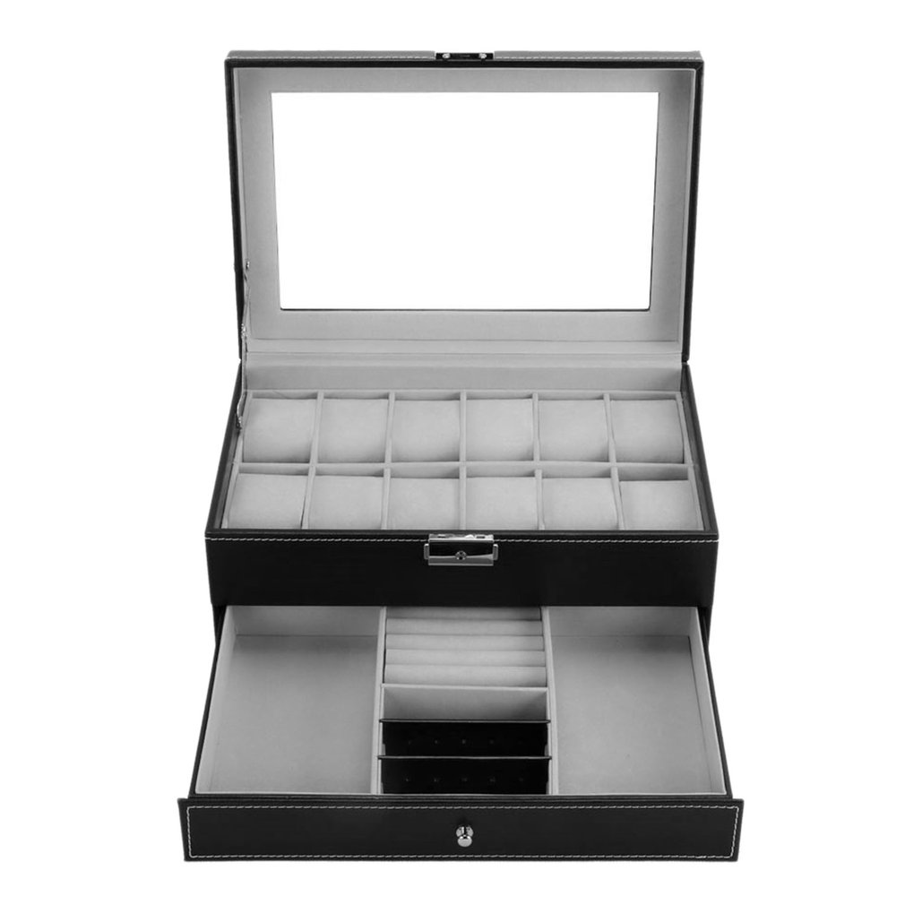 12 Grids Slots Professional Watches Storage Box Double Layers PU Leather Watch Case Organizer Box Holder Black Brown Colors - 3