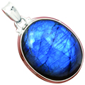 Lovegem Genuine Blue fire Labradorite Pendant 925 Sterling Silver, 44 mm,  AP1911