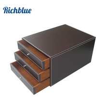 3 Layers Office PU Leather Desk Filing Cabinet A4 Paper File Document Holder Wooden Desk Organizer Magazine Storage Box 3 Drawer