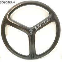 3 spoke wheels 700c bicycle carbon wheels road/track/fixed wheels tri carbon wheelset soloteam wheelset