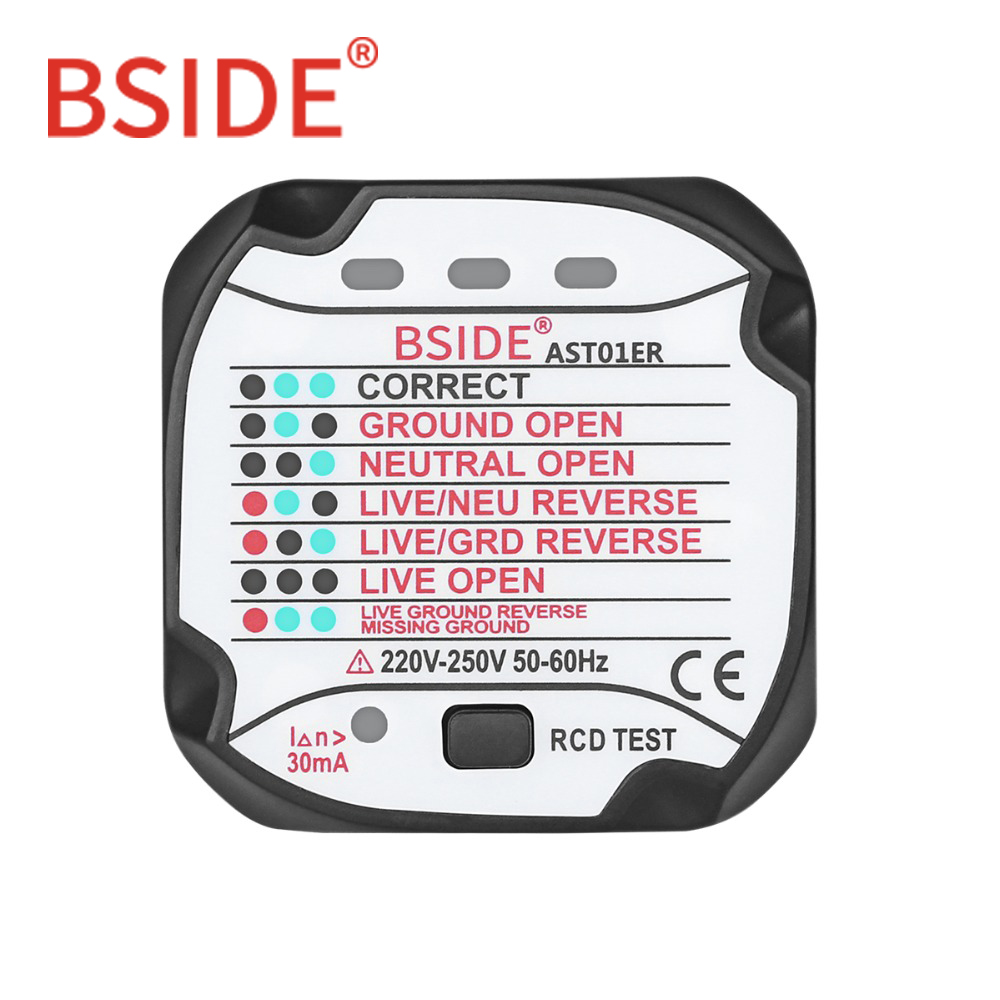 BSIDE AST01ER Socket Tester Outlet Tester EU Plug Automatic Electric Circuit Polarity Voltage Detector Wall Plug Breaker Finder uni t ut25a ut25b automatic circuit breaker finder socket tester circuit diagnostic tool with led indicator