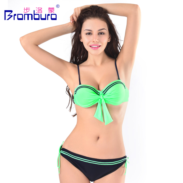 2016 Hot Sale Sexy Solid Bikini Fluo Green Bandeau Swimwear Women