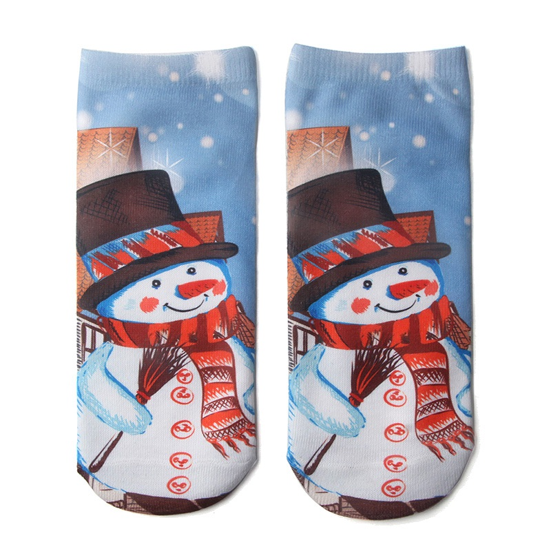 Unisex 3D Christmas Socks Cartoon Elk Snowman Socks Women Low Cut Ankle Christmas Ski Socks