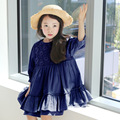 2016 Summer & Spring New Korean Children Clothing Flower Kids Dress Girls Long-Sleeved Child Dress, Dark Blue/ Beige
