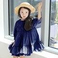 2016 Summer & Spring Nuevos Niños Coreanos Ropa Cabritos se Visten de Flores Chicas de manga Larga Vestido de Niño, Azul oscuro/Beige