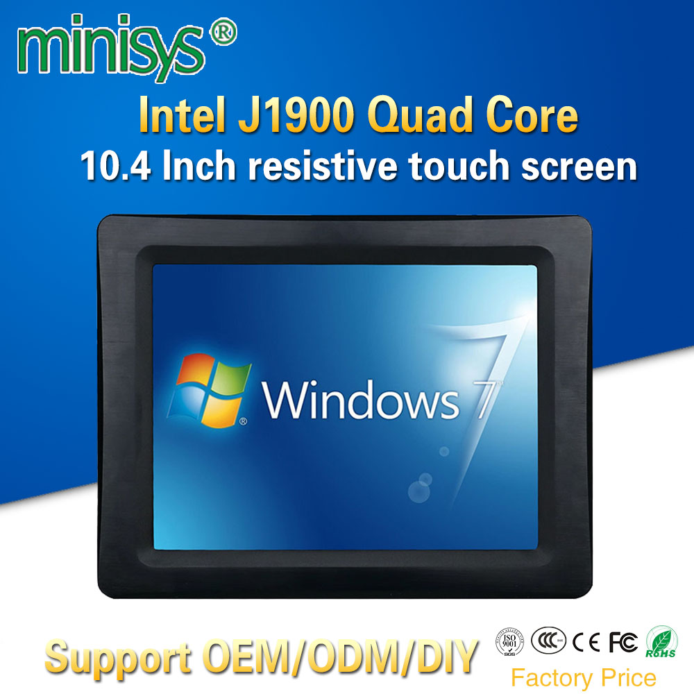 Minisys New 10.4'' Taiwan Five-wire Resistive Touch Screen Mini PC Intel J1900 Quad Core 2 COM Port All-in-one Tablet Computer