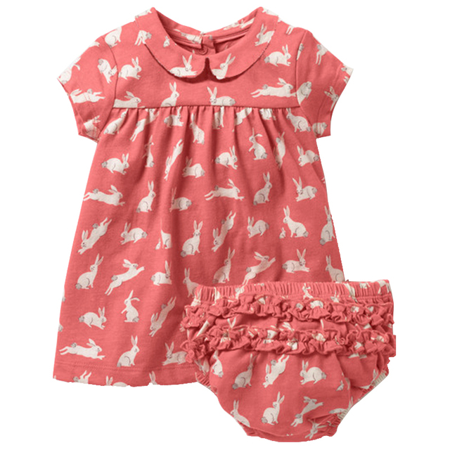 Newborn Baby Clothes For Girl 2pcs Animal Printed Dress With Packet