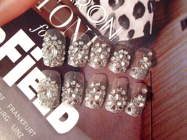 Online Shop New 24pcs Glitter Acrylic Full Cover Nail Tips False