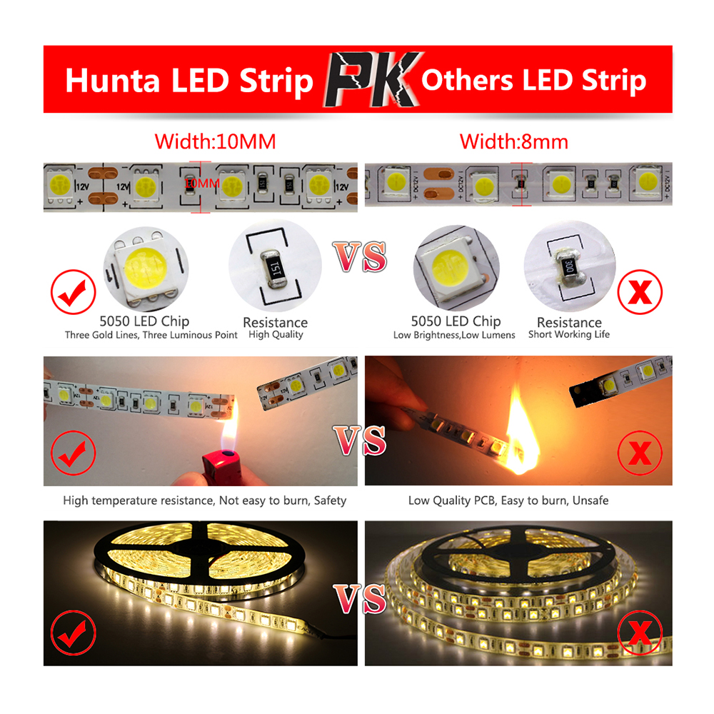 Buy Led Strip 5050 Dc12v Flexible Light Black Circuit Board Waterproof China Rigid White Pcb No 60led M 5m 300led Fita Strips From