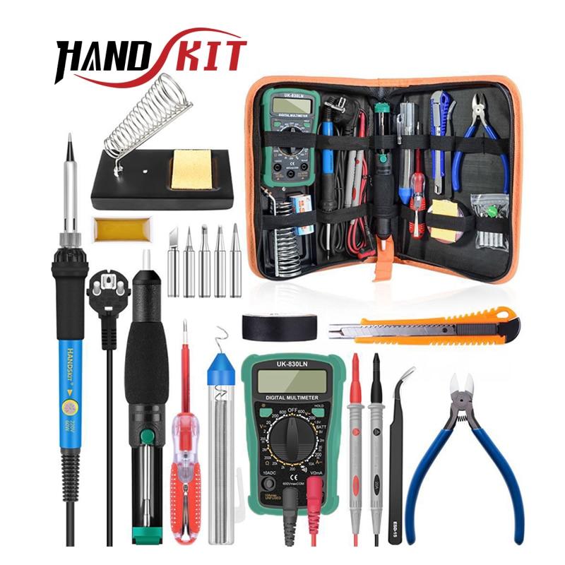 Handskit Temperature Electric Soldering Iron Kit 110V 220V 60W Soldering Iron kit With Multimeter Desoldeirng Pump Welding Tool