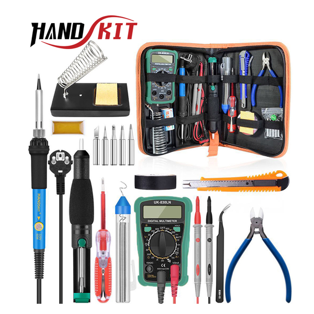 Handskit Temperature Electric Soldering Iron Kit 110V 220V 60W Soldering Iron kit With Multimeter Desoldeirng Pump Welding Tool