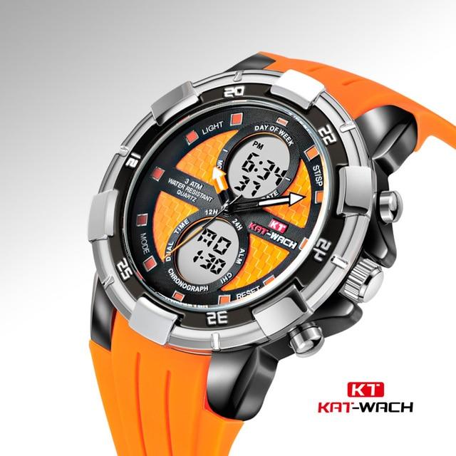 183fdbf0a74 KAT-WACH Cronógrafo Relógio Do Esporte Dos Homens Multifunction Dual  Display Digital relógio de Pulso