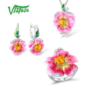 VISTOSO Jewelry Sets For Woman White Cubic Zirconia Jewelry Set Earrings Pendant Ring 925 Sterling Silver Fine Jewelry Enamel - DISCOUNT ITEM  49% OFF All Category