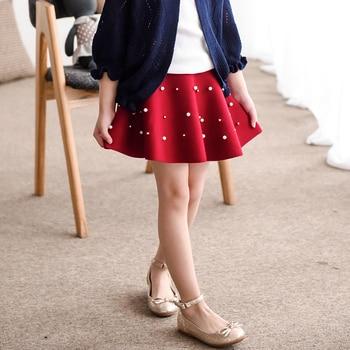 The new spring girl knitted  pleated  waist skirt
