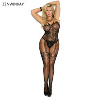 Female Exotic Apparel Black Sexy Sex Clothes Porn Lingerie Body Stocking Mesh Sexy  Plus Size M XL